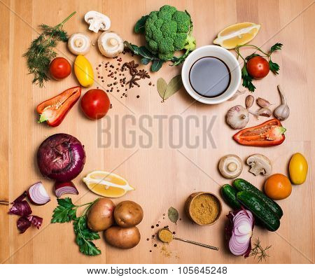 Colorful Salad Ingredients On Rustic Wooden Background With Copy Space, Round Frame, Top View. Fresh