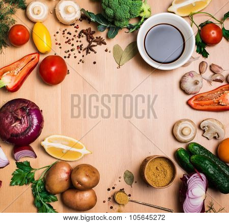 Salad Ingredients On Rustic Wooden Background With Copy Space, Round Frame, Top View.