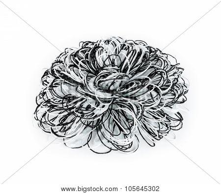 Black And White Yarn Bow On White Background