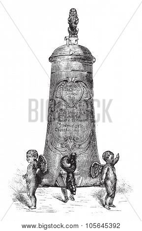 Fontaine Pewter beer, seventeenth century, vintage engraved illustration. Magasin Pittoresque 1877.