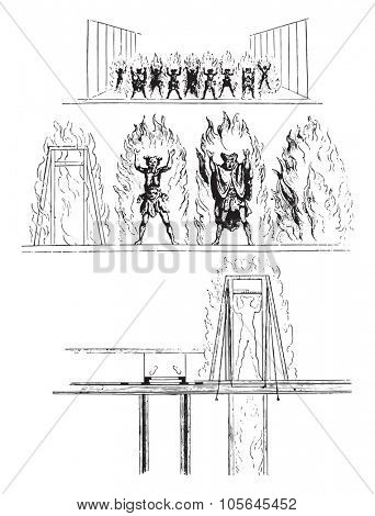 Opera under Louis XIV, Theater machines, Demons in the flames, vintage engraved illustration. Magasin Pittoresque 1867.