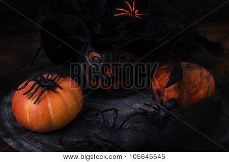 Halloween Pumpkins, Spider, Spider Web, Witch Hat.