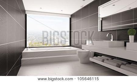 Minimalistic bathroom with bathtub and black tiles in a loft (3D Rendering)