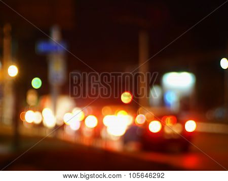 Trucks And Cars With Headlights Was Blurred For Use As A Background