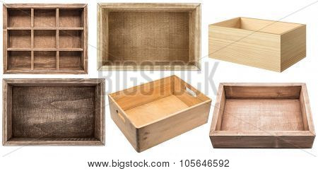Empty wooden boxes isolated on white background