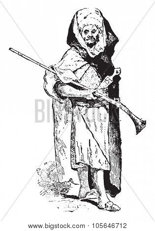 Bedouin, vintage engraved illustration. Dictionary of words and things - Larive and Fleury - 1895.