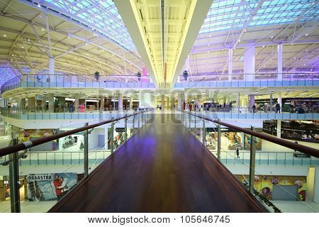 MOSCOW - DEC 05, 2014:  Footbridge on the opposite side of the shopping and entertainment complex Aviapark