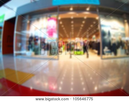 Blurry Image Of The Shopping Center And Fashion Stores