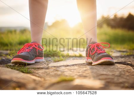 Young runners outside