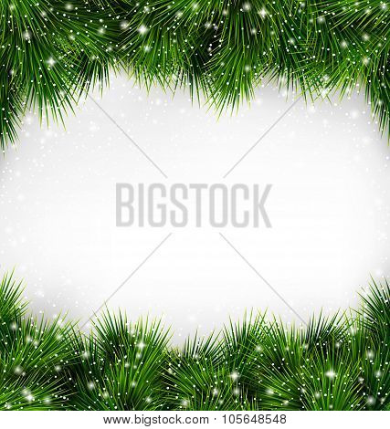 Shiny Green Christmas Tree Pine Branches Like Frame with Snowfal