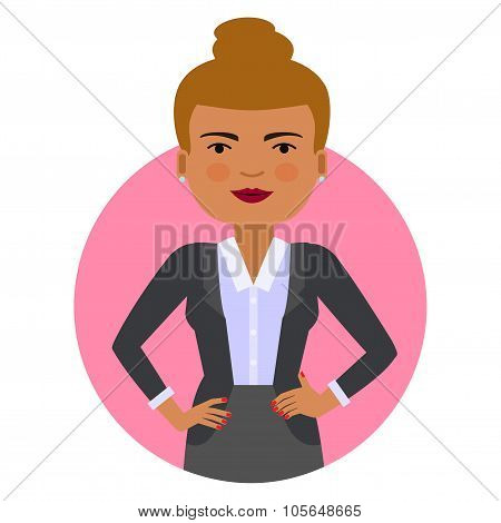 Businesswoman with hands akimbo