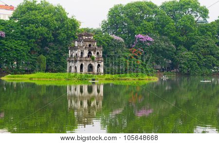 Turtle tower in Sword lake in Hanoi, Vietnam