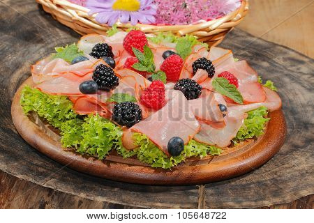 Ham Plate, Ham, Fruit, Raspberries, Blueberries, Blackberries, Lettuce
