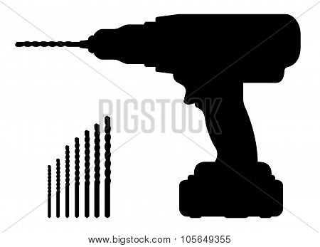 Electric cordless hand drill silhouette with bits