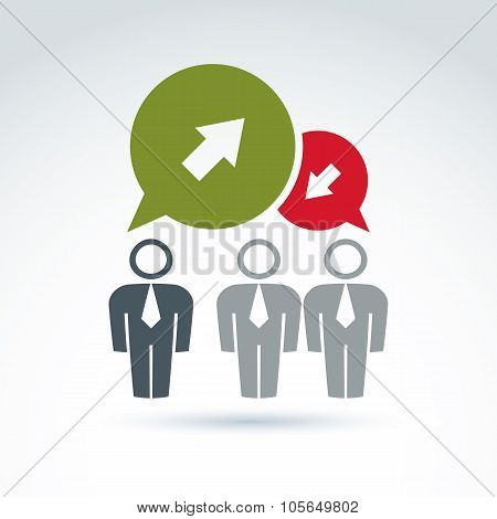 Silhouettes Of People Facing Forward, Illustration Of A Problem Discussion With Contra Opinions. Vec