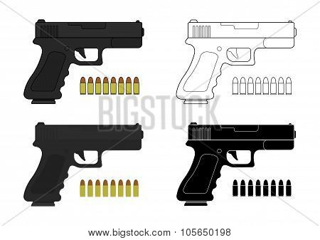 9 mm pistol and bullets