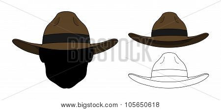 Wild west old fashion hat. Color. Contour