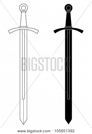 One-handed medieval knight sword. Contour, black