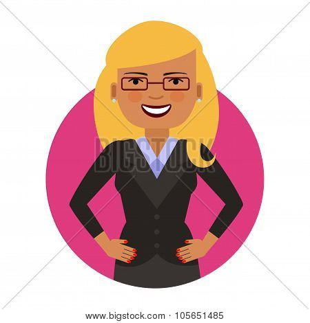 Smiling businesswoman in glasses