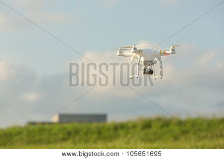 Camera Drone Flying In Sky