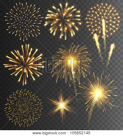 Golden Firework Salute Burst on Transparent Background