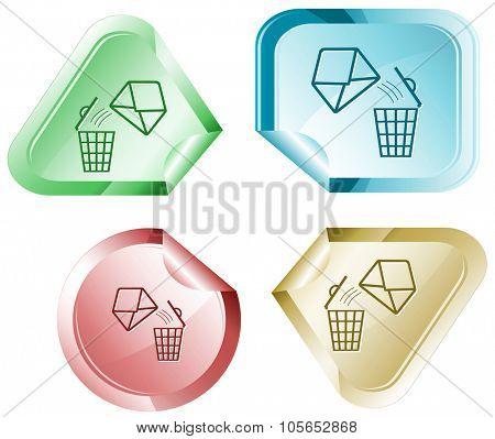 open mail with bin. Raster sticker.
