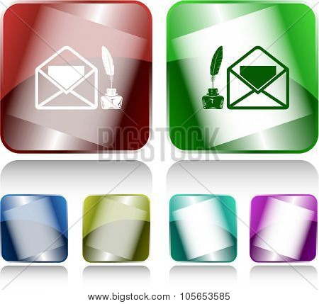 mail with feather and inkstandn . Internet buttons. Raster illustration.