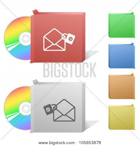 open mail with lock. Box with compact disc. Raster illustration.
