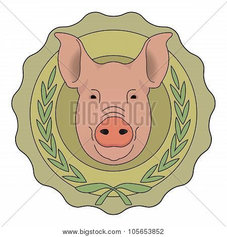 Butchery eco logo. Pig in laurel wreath. Color