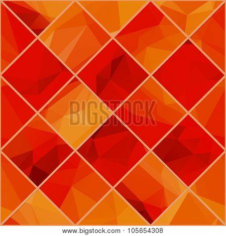 Abstract Geometric colorful background. Light orange red polygonal pattern. Raster mosaik