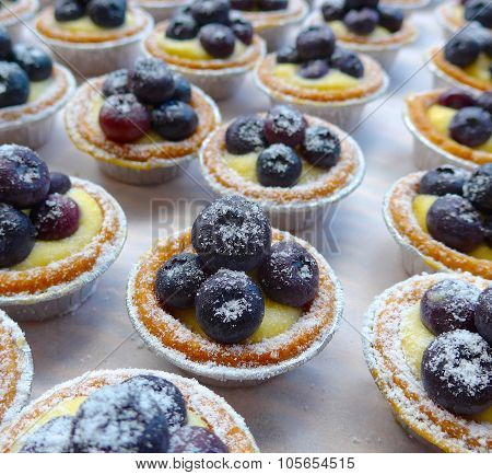 The close view of blueberry tarts