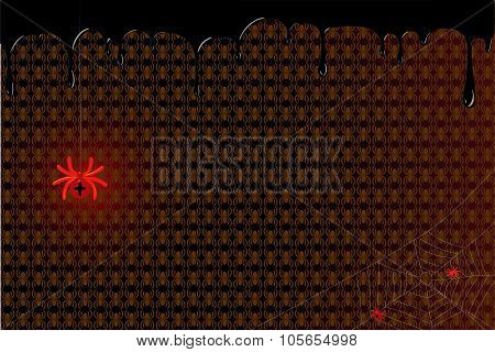 Red spider with cubs on the web. Vector illustration