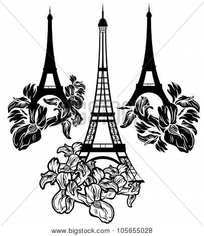Eiffel Tower Among Irises