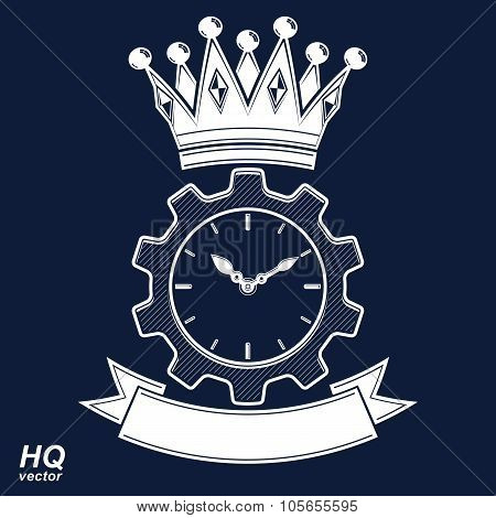Vector Retro Cog Wheel And Clock With Crown, Business Organizer Symbol. Production Process Planning