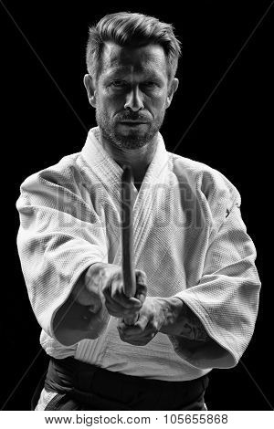 low key portrait of aikido master