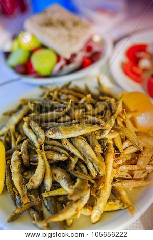 Fried whitebait, traditional Mediterranean dish