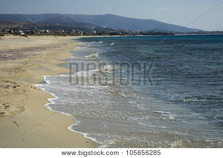Orkos beach at Naxos island in the Cyclades, Greece