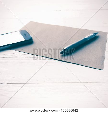 Cellphone With Brown Paper And Pen Vintage Style