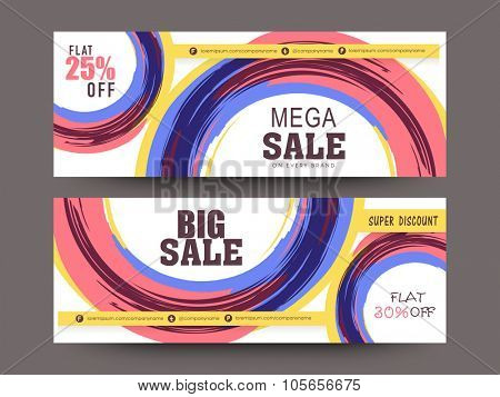 Creative mega sale website header or banner set with 25% and 30% discount offer.