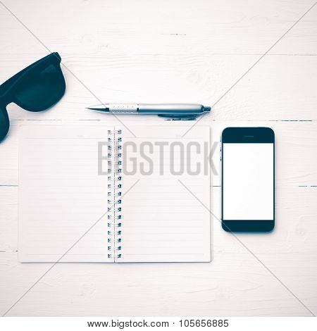 Cellphone With Notepad And Pen Vintage Style
