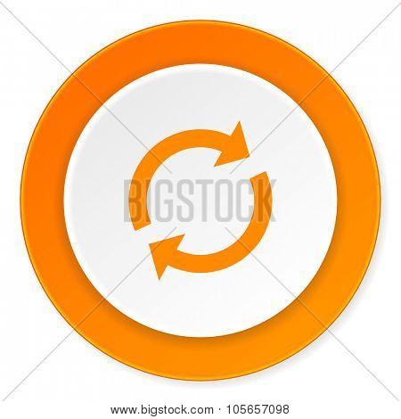 reload orange circle 3d modern design flat icon on white background