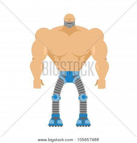 Cyborg- Half Human, Half Robot. Body Of  Man. Legs Cyber Mechanical. Machine Of Future. Bionic Artif