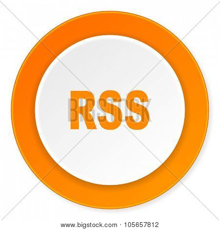 rss orange circle 3d modern design flat icon on white background