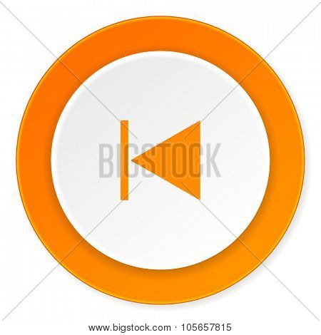 prev orange circle 3d modern design flat icon on white background