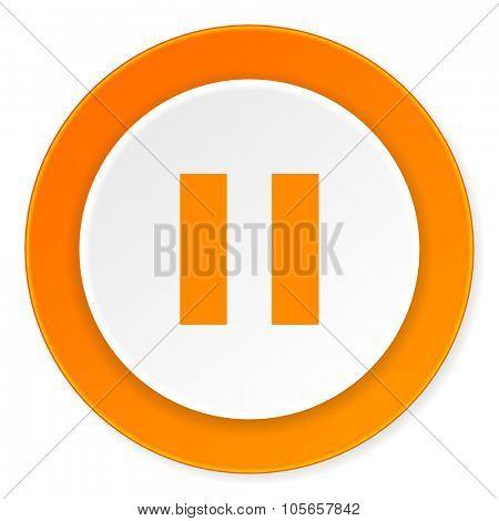 pause orange circle 3d modern design flat icon on white background