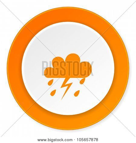 storm orange circle 3d modern design flat icon on white background