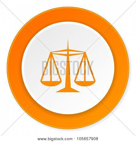 justice orange circle 3d modern design flat icon on white background