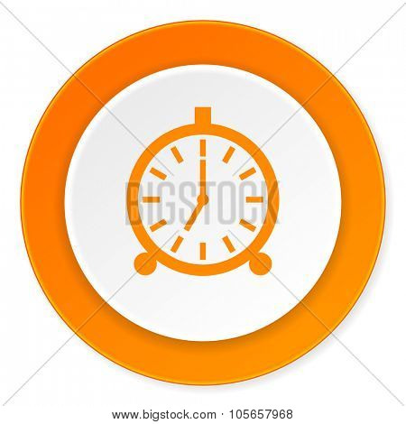 alarm orange circle 3d modern design flat icon on white background