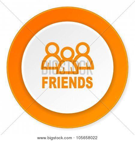 friends orange circle 3d modern design flat icon on white background