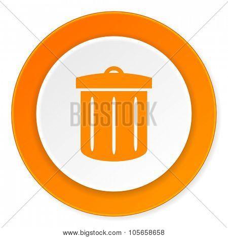 recycle orange circle 3d modern design flat icon on white background